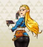 1girl ass blonde_hair eyebrows fingerless_gloves glasses gloves green_eyes hair_ornament hairclip highres hips long_hair looking_at_viewer looking_back open_mouth pointy_ears princess_zelda sheikah_slate solo the_legend_of_zelda the_legend_of_zelda:_breath_of_the_wild thighs wide_hips yakibuta_(shimapow) yellow-framed_eyewear rating:Safe score:2 user:gelbooru