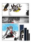 black_rock_shooter_(character) catstudio_(artist) comic fallen_down left-to-right_manga silent_comic tears tripping vocaloid zatsune_miku rating:Safe score:0 user:Gelbooru