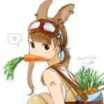 1girl animal_ears artist_name bag bangs black_eyes blonde_hair blunt_bangs carrot commentary_request dated ear_piercing earrings eyebrows_visible_through_hair from_side goggles goggles_on_head hairband heart highres jewelry knees_up long_hair looking_at_viewer mouth_hold original piercing rabbit_ears sako_(user_ndpz5754) shoulder_bag signature simple_background sleeveless solo spoken_heart squatting tattoo twintails white_background rating:Safe score:1 user:gelbooru
