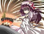 cooking fire gengorou hat long_hair mamemaki patchouli_knowledge purple_eyes purple_hair sweat touhou violet_eyes rating:Safe score:1 user:Gelbooru