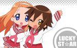 2girls fang kusakabe_misao lucky_star minegishi_ayano seifuku rating:Safe score:0 user:KonaChan