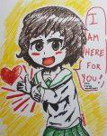 1girl akiyama_yukari brown_eyes brown_hair cornstarchia girls_und_panzer green_skirt heart seifuku  rating:safe score: user:cornstarchia