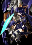 1girl black_background black_gloves blue_hair commentary_request elbow_gloves full_body gloves glowing glowing_eyes glowing_sword glowing_weapon gun headgear high_ponytail highres kumichou_(ef65-1118-ef81-95) long_hair mecha mecha_musume open_mouth original pink_eyes shoulder_armor stance sword very_long_hair weapon rating:Safe score:1 user:danbooru