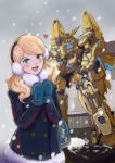 1girl bag bangs blonde_hair blue_eyes blush building coat commentary_request earmuffs gacha-m green_eyes gundam gundam_narrative heart long_hair long_sleeves looking_at_viewer mecha mechanical_wings mittens nt-d rita_bernal shield shoulder_bag snow solo standing statue unicorn_gundam_phenex upper_body wavy_hair wings winter winter_clothes winter_coat rating:Safe score:0 user:danbooru