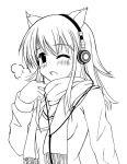 cat_ears headphones kazumasa monochrome original scarf  rating:safe score: user:gelbooru