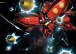 akamiho funnels glowing glowing_eye gundam gundam_zz mecha mobile_suit qubeley_mk_ii space thrusters wings zeon rating:Safe score:0 user:danbooru