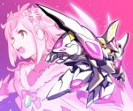 1girl bangs collage commentary_request flower flying full_body glowing glowing_eyes granbelm green_eyes hair_flower hair_ornament highres ishiyumi kohinata_mangetsu mecha petals pink_background pink_hair short_hair sidelocks upper_body white_lily_(granbelm) yellow_eyes rating:Safe score:1 user:danbooru
