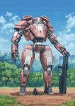 1boy absurdres chaboex commentary day full_body gun helmet highres mecha original outdoors picnic pilot_suit science_fiction sitting sky standing weapon rating:Safe score:0 user:danbooru