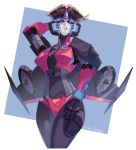 autobot biting blue_eyes commission crossed_legs hand_behind_head hand_on_own_thigh highres lilinapocalypse lip_biting looking_at_viewer looking_down mecha mechanical mechanical_wings robot robot_joints science_fiction transformers windblade wings rating:Safe score:0 user:danbooru