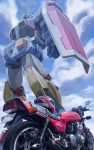 clouds engine ground_vehicle gundam helmet highres k-kat machinery mecha mobile_suit_gundam motor_vehicle motorcycle motorcycle_helmet no_humans realistic rx-78-2 science_fiction shield tagme rating:Safe score:0 user:danbooru