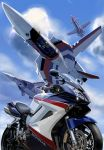 aircraft armor canards choujikuu_yousai_macross clouds cockpit commentary commentary_request fan_racer flying ground_vehicle helmet highres honda k-kat macross mecha motor_vehicle motorcycle pilot pilot_suit realistic roundel science_fiction spacesuit u.n._spacy variable_fighter vf-1 vf-1a rating:Safe score:1 user:danbooru