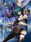 1girl belt blue_sky boots choker clenched_hand commentary_request cropped_jacket denim denim_shorts glint glowing glowing_eyes green_eyes hair_flaps highres jacket kumichou_(ef65-1118-ef81-95) looking_at_viewer mecha open_mouth original outstretched_hand reaching_out red_eyes shirt short_hair shorts skindentation sky thigh-highs thigh_boots thigh_strap white_shirt yellow_eyes rating:Safe score:2 user:danbooru