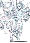 1girl belt boots choker colored_pencil_(medium) commentary_request cropped_jacket full_body hair_flaps highres jacket kumichou_(ef65-1118-ef81-95) looking_at_viewer mecha monochrome open_mouth original shirt short_hair shorts sketch skindentation thigh-highs thigh_boots thigh_strap traditional_media rating:Safe score:0 user:danbooru