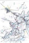 battle colored_pencil_(medium) commentary_request debris earth fighting gun highres holding holding_sword holding_weapon kumichou_(ef65-1118-ef81-95) mecha monochrome original sketch space sword thrusters traditional_media weapon rating:Safe score:0 user:danbooru