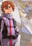 1boy blue_eyes bodysuit brown_hair closed_mouth cowboy_shot gundam gundam_hathaway's_flash hankuri helmet holding holding_helmet lane_aime male_focus mecha penelope_(hathaway's_flash) pilot_suit purple_bodysuit solo standing rating:Safe score:0 user:danbooru