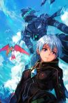 1boy black_bodysuit blue_hair blue_sky bodysuit closed_mouth clouds cloudy_sky copyright_request hankuri light_smile looking_at_viewer male_focus mecha pilot_suit sky solo violet_eyes rating:Safe score:0 user:danbooru