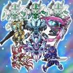 black_six blue_one clenched_hands fighting_stance flying gamiani_zero gold_four gun majestic_prince mecha no_humans purple_two red_five robot rose_three salute single_eye space super_robot_wars sword weapon rating:Safe score:0 user:danbooru