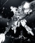 beam_rifle char's_counterattack debris earth energy_gun firing greyscale gundam highres mecha monochrome no_humans re-gz space weapon yoshinaga_yunosuke rating:Safe score:1 user:danbooru