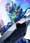 alus_core_gundam beam_saber dual_wielding earthree_gundam gamiani_zero glowing glowing_eyes green_eyes gundam gundam_build_divers gundam_build_divers_re:rise highres holding holding_weapon looking_ahead mecha no_humans reflection shield sky solo solo_focus weapon rating:Safe score:0 user:danbooru