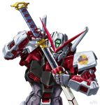 dated gerbera_straight gundam gundam_astray_red_frame gundam_seed gundam_seed_astray katana mecha no_humans sheath signature sword tokita_kouichi unsheathing weapon white_background rating:Safe score:1 user:danbooru