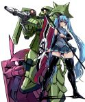 1girl blue_hair flag gun gundam hatsune_miku holding holding_flag holding_gun holding_weapon looking_to_the_side mecha one-eyed red_eyes smile thigh-highs twintails vocaloid weapon yuya zaku_ii zaku_ii_s_char_custom zeon rating:Safe score:0 user:danbooru