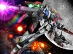 beam_rifle clenched_hand energy_gun explosion firing green_eyes gun gundam gundam_build_fighters gundam_build_fighters_try hiropon_(tasogare_no_puu) holding holding_gun holding_weapon lightning_zeta_gundam looking_to_the_side mecha mechanical_wings no_humans photo_background solo space weapon wings rating:Safe score:0 user:danbooru