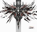 absurdres animal_ears arknights black_jacket character_name chinese_commentary commentary_request crazy_eyes crossed_legs dual_wielding fire grey_theme hair_ornament hairclip highres holding holding_knife jacket knife lappland_(arknights) long_hair looking_at_viewer mecha open_clothes open_jacket scar scar_across_eye shinnasuka025 silver_hair smoke white_background wolf_ears rating:Safe score:0 user:danbooru