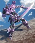 clouds dual_wielding green_eyes highres holding holding_sword holding_weapon looking_down mecha moyashi_(karamisouma) original robot sliding standing sword weapon rating:Safe score:1 user:danbooru