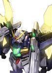 absurdres after_war_gundam_x glowing green_eyes gundam gundam_double_x highres mecha nakamura_eight no_humans satellite_cannon shoulder_cannon white_background rating:Safe score:0 user:danbooru
