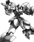 absurdres beam_rifle clenched_hands energy_gun gun gun-ez gundam haganef highres holding holding_gun holding_weapon looking_to_the_side mecha monochrome no_humans solo victory_gundam weapon white_background white_eyes rating:Safe score:0 user:danbooru