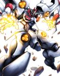 absurdres dangaioh_hyper_combat_unit dangaiou glowing glowing_eyes glowing_hands haganef highres looking_at_viewer looking_down mecha no_humans solo super_robot white_background yellow_eyes rating:Safe score:0 user:danbooru