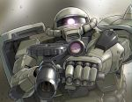 aiming_at_viewer cable camera gundam hose machinery mecha mobile_suit_gundam realistic reflection science_fiction scope sensor shield towarai zaku_ii rating:Safe score:1 user:danbooru