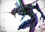 commentary_request eva_01 glowing glowing_eyes horns k-suwabe mecha neon_genesis_evangelion no_humans pauldrons shoulder_armor single_horn solo twitter_username upper_body rating:Safe score:1 user:danbooru