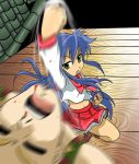 blue_hair crossover green_eyes guile highres izumi_konata kakki_(pixiv4742) kakkii lucky_star midriff punch punching school_uniform serafuku shoryuken street_fighter uppercut rating:Safe score:5 user:Gelbooru