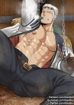 1boy abs ass_visible_through_thighs bara bare_chest belt black_pants bound bound_wrists chain chained chained_wrists chest cigar epaulettes facial_hair feet_out_of_frame jacket kienbiu male_focus muscle navel nipples one_piece open_clothes open_jacket open_pants pants short_hair sideburns smoker_(one_piece) smoking solo spread_legs stubble thick_thighs thighs white_hair rating:Safe score:0 user:danbooru