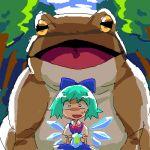 bad_id blue_hair cirno frog hachi_(8bit_canvas) lowres oekaki oogama oversized_animal ribbon ribbons touhou wings you_gonna_get_raped rating:Safe score:0 user:Gelbooru