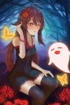 1girl absurd_fox black_dress black_nails brown_hair butterfly genshin_impact ghost hu_tao long_hair multicolored_eyes multicolored_hair solo stockings twintails rating:safe score: user:absurdfox