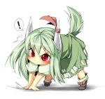 ! /\/\/\ all_fours beihan blush caved chibi ex-keine green_hair highres horns kamishirasawa_keine kokka_han long_hair red_eyes ribbon slit_pupils tail touhou young rating:Safe score:1 user:Gelbooru