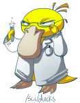 4chan adjusting_glasses artist_request glasses labcoat no_humans pen pokemon pokemon_(creature) psyduck pun science simple_background test_tube white_background rating:Safe score:0 user:Gelbooru