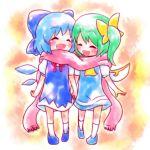ayakashi_(monkeypanch) cirno daiyousei hand_holding holding_hands multiple_girls scarf shared_scarf smile touhou rating:Safe score:2 user:Gelbooru