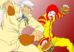 afro angry battle blue_eyes bouzu_oyaji burgers chicken chicken_(food) clown colonel_sanders dual_wielding epic face_paint facepaint facial_hair fighting_stance food food_fight formal fried_chicken glasses goatee hamburger jumpsuit kfc kfc_(company) male mcdonald's mcdonald's multiple_boys old_man parody red_hair redhead ronald_mcdonald stance string_tie suit white_hair rating:Safe score:7 user:Gelbooru