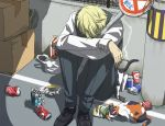 blonde_hair can cat cigarette durarara!! heiwajima_shizuo male road_sign shiwasuda short_hair sign snack snacks solo rating:Safe score:4 user:Gelbooru