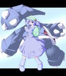 1girl bag blue_eyes blue_hair boots crossover hair_bobbles hair_ornament hat kawashiro_nitori metagross miyo_(miyomiyo01) poke_ball pokemon pokemon_(creature) red_eyes touhou rating:Safe score:1 user:danbooru