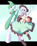 1girl dress gallade green_eyes hat heart heart_of_string komeiji_koishi miyo_(miyomiyo01) poke_ball pokemon pokemon_(creature) red_eyes shoes silver_hair touhou rating:Safe score:1 user:danbooru