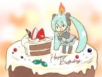 birthday cake candle chibi fire flame food fruit hatsune_miku in_food minigirl pastry sangatsu_youka solo standing strawberry twintails vocaloid rating:Safe score:2 user:danbooru