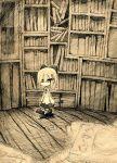 bookshelf bow cardigan chibi children's_book comic library monochrome original silent_comic skirt solo toi_(number8) traditional_media walking rating:Safe score:1 user:danbooru