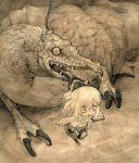 children's_book comic dragon monochrome original silent_comic toi_(number8) traditional_media rating:Safe score:0 user:danbooru