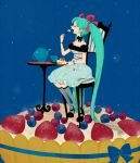 aqua_hair bare_shoulders berries blueberry bow bracelet chair choker closed_eyes cup detached_sleeves dress eating food fruit hatsune_miku high_heels in_food jewelry l_hakase long_hair open_mouth raspberry shoes sitting solo strawberry sweets table tart_(food) teacup teapot thigh-highs thighhighs twintails very_long_hair vocaloid zettai_ryouiki rating:Safe score:1 user:danbooru