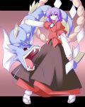 1girl crossover gyarados miyo_(miyomiyo01) poke_ball pokemon pokemon_(creature) purple_hair red_eyes sandals touhou yasaka_kanako rating:Safe score:0 user:danbooru
