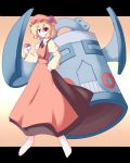 1girl aki_minoriko bronzong crossover dress grapes hat miyo_(miyomiyo01) poke_ball pokemon pokemon_(creature) touhou rating:Safe score:0 user:danbooru
